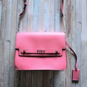 GUESS Neon Pink Structured Crossbody Shoulder Bag